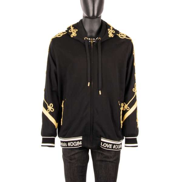 Oversize hoodie jacket DG Royal Millennials with Logo stripe and golden embroidered trimming by DOLCE & GABBANA