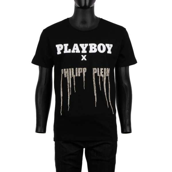 T-Shirt with a massive white crystals Gothic Logo at the front and 'Playboy X Plein' leather logo plaque at the back by PHILIPP PLEIN x PLAYBOY
