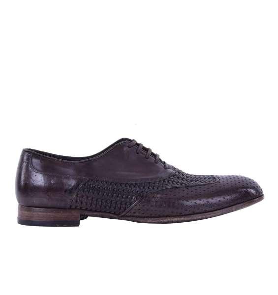 Gewebte Derby Schuhe SORRENTO aus Kalbsleder im Gitter-Design aus Kalbsleder von DOLCE & GABBANA Black Label