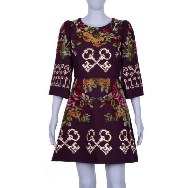 Baroque style Dress with golden keys and velvet roses embroidery by DOLCE & GABBANA Black Line