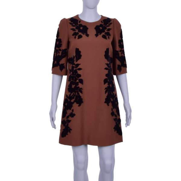 Baroque Virgin Wool Dress with embroidered velvet flowers in black and brown by DOLCE & GABBANA Black Line