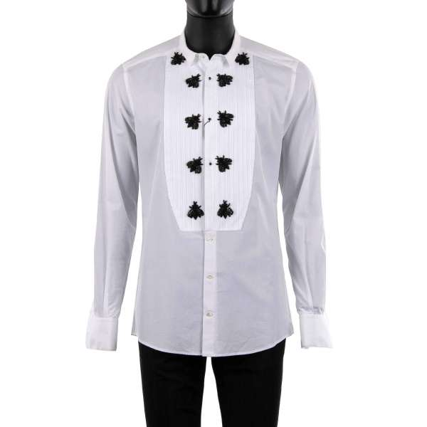 Tuxedo Shirt with short collar, bejeweled buttons and embroidered bees made of crystals, glass and copper by DOLCE & GABBANA - GOLD Line