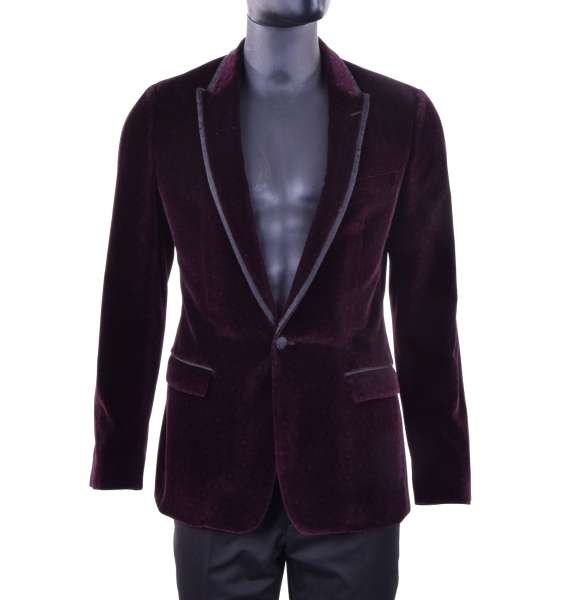 Printed velour tuxedo blazer TAORMINA with a contrast silk collar by DOLCE & GABBANA Black Label