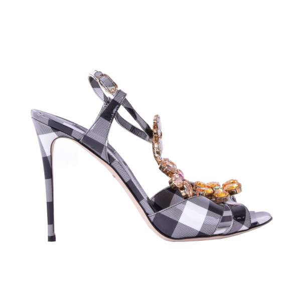 Checked patent leather high heel sandals embellished with floral crystals applications by DOLCE & GABBANA Black Label
