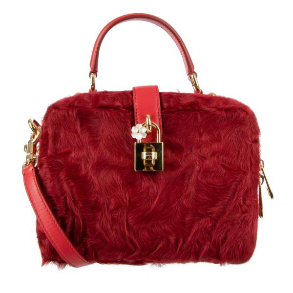 Astrakhan fur and leather shoulder bag / tote bag ROSARIA Medium with decorative lock, studs and large mirror by DOLCE & GABBANA