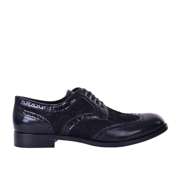 Lace-up wingtip women derby shoes BOY made of leather and lace with floral designs by DOLCE & GABBANA Black Label