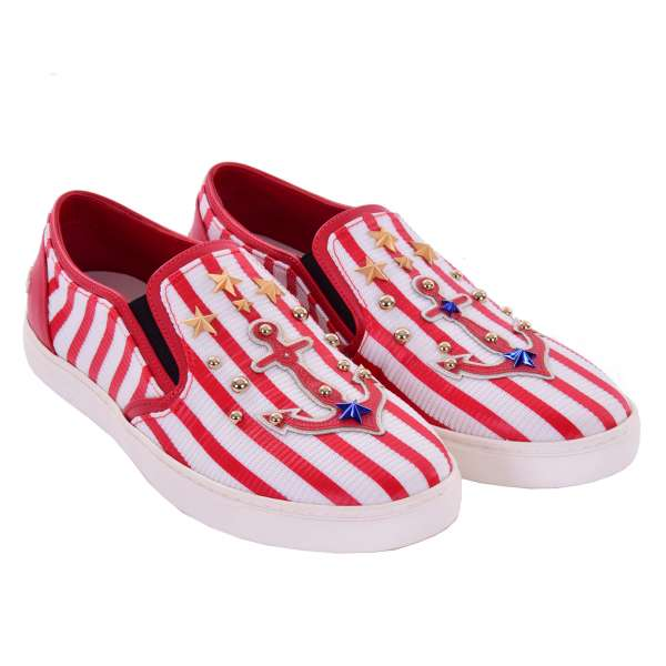 Slip-On Sneaker LONDON with studs, anchor, stars applications and DG logo in red and white by DOLCE & GABBANA Black Label
