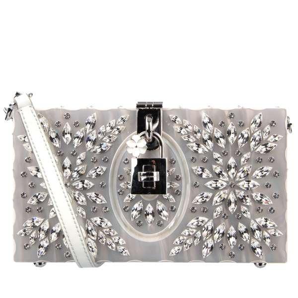 Clutch Tasche / Schultertasche DOLCE BOX gefertigt aus bemaltem Holz mit Kristallen in Blumen-Form und dekorativem Schloss von DOLCE & GABBANA Black Label