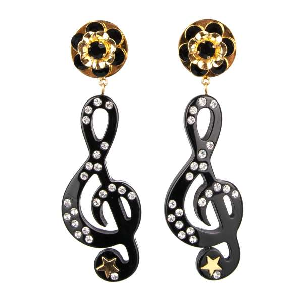 """""""Stelle"""" Music Clip Earrings with Crystals and Star in Gold and Black by DOLCE & GABBANA"""