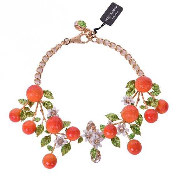 """""""Arance"""" Necklace with Oranges, Flowers and Crystals in Gold by DOLCE & GABBANA"""