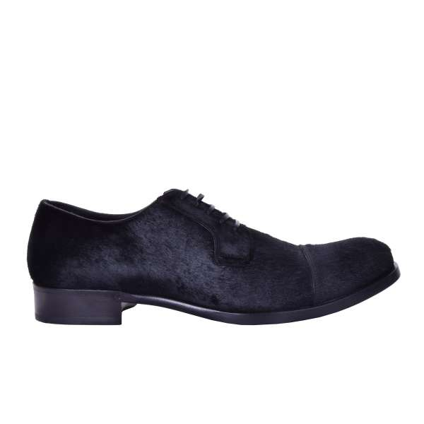 Welted derby captoe shoes made of calf fur by DOLCE & GABBANA Black Label