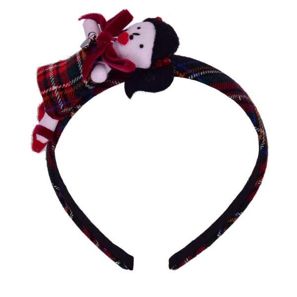 Checked Hairband embelished with Doll and Crystals in Red and Black by DOLCE & GABBANA