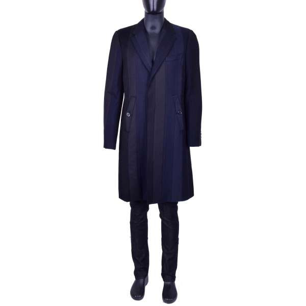 Striped Virgin Wool Coat with a hidden button tape by DOLCE & GABBANA Black Line