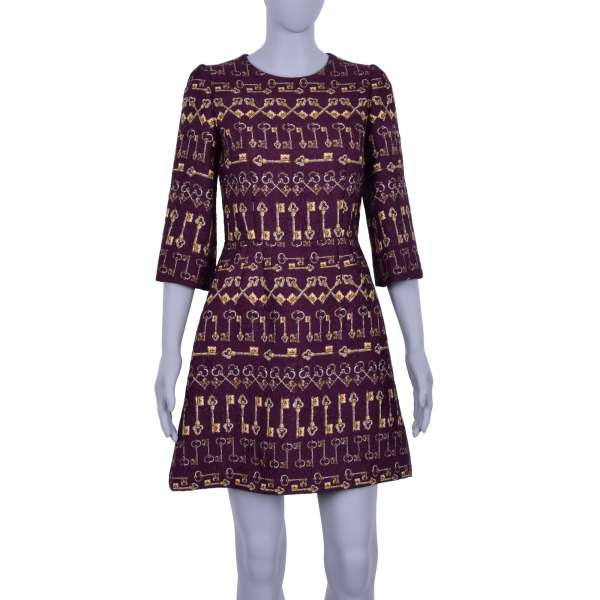 Baroque Style Jacquard Dress with golden keys print in bordeaux by DOLCE & GABBANA Black Label
