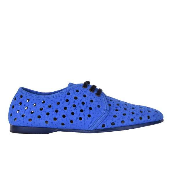 Perforated suede derby shoes AMALFI with circle holes by DOLCE & GABBANA Black Label