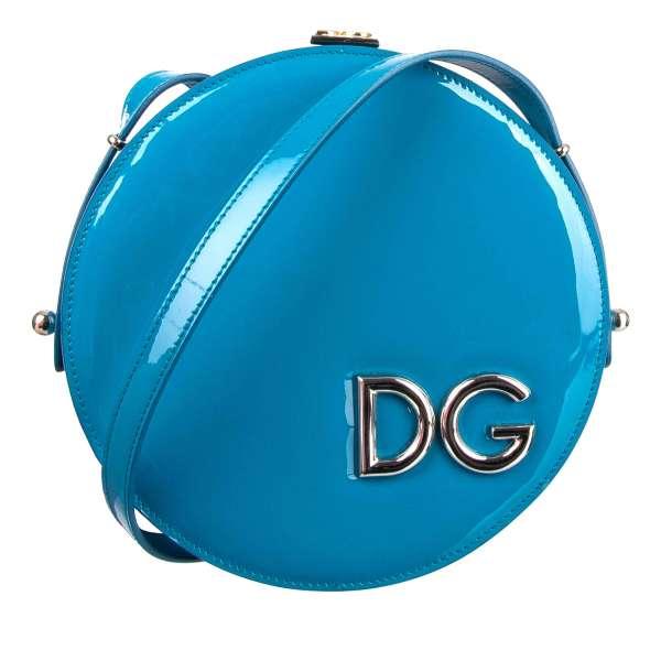 Schultertasche / Clutch DG GIRLS in Kreis-Form aus Lackleder mit großem DG Logo vorne von DOLCE & GABBANA