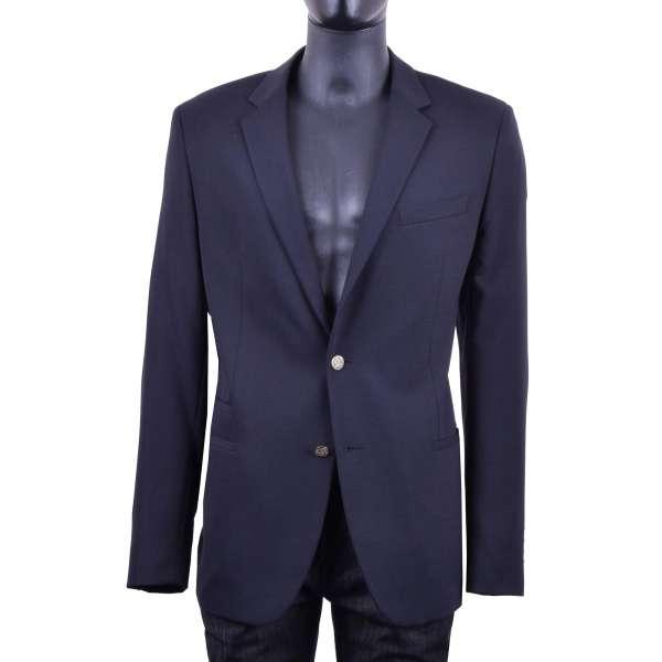 Virgin wool blend blazer with embossed heraldry metal buttons by DOLCE & GABBANA Black Label - VENTANNI Line