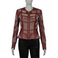 COUTURE Studded Leather Jacket SENS Red XS