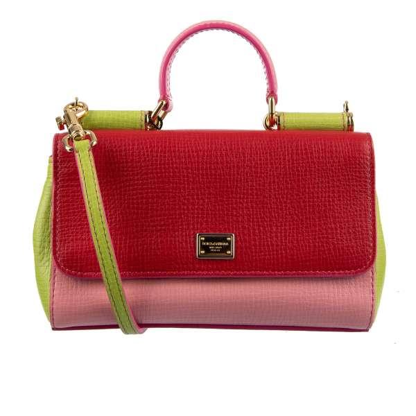 Hand- / Schultertasche MISS SICILY Mini in Baguette Form aus weichem Kalbsleder in Farben Rot / Pink / Grün mit Fächern von DOLCE & GABBANA