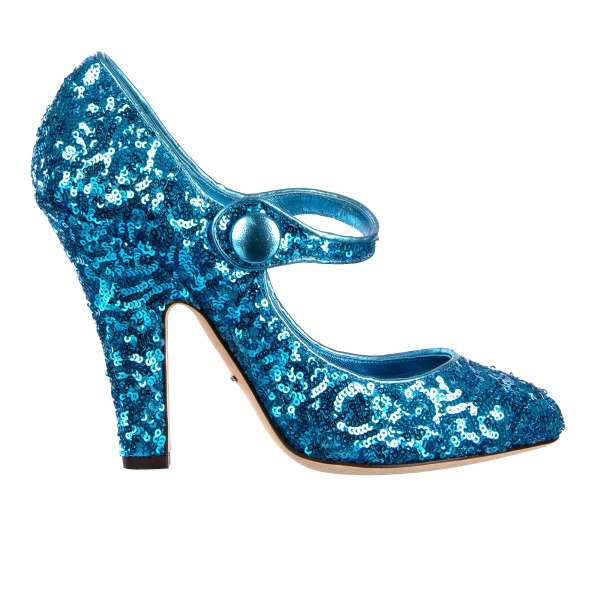Sequined Mary Jane Pumps VALLY in turquoise by DOLCE & GABBANA Black Label