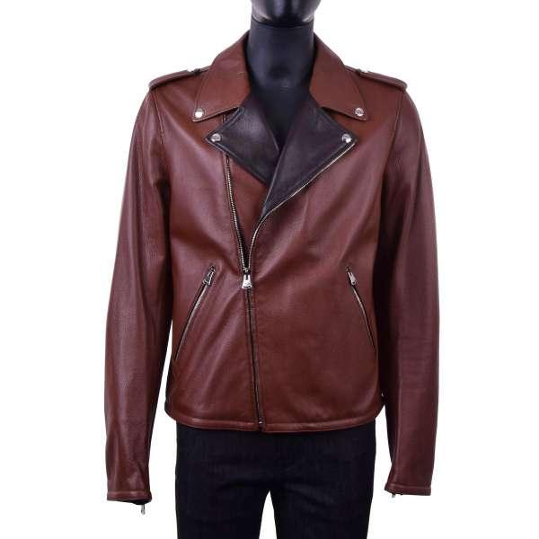 Biker Jacke aus Hirschleder mit weit geschnittenem Kontrast-Kragen von DOLCE & GABBANA Black Label