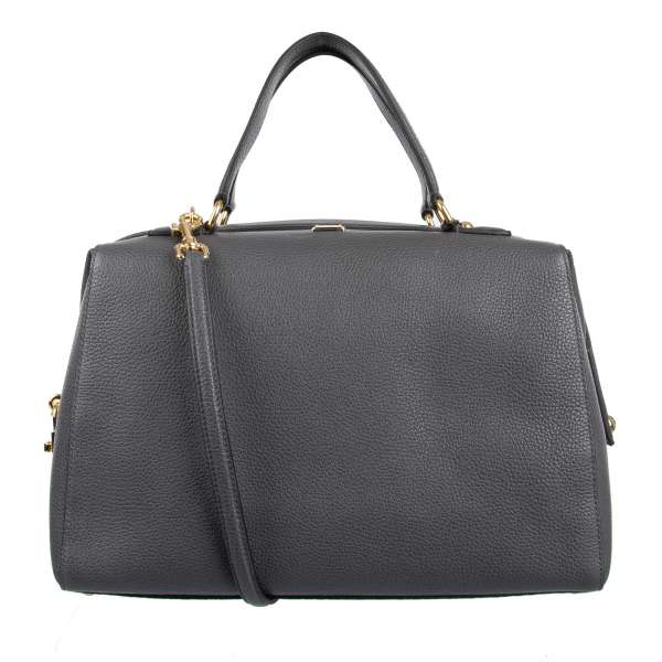 Bottalato leather box designed tote bag / shoulder bag with two handles and logo plaque by DOLCE & GABBANA