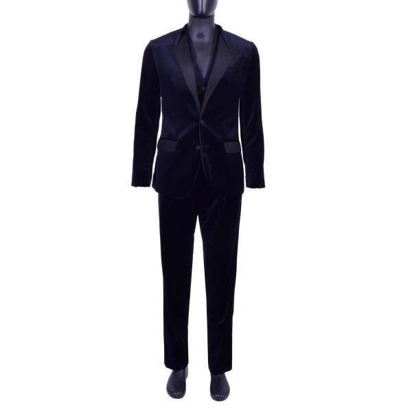 3 Teile Anzug aus Samt mit schwarzem Kontrast Revers von DOLCE & GABBANA Black Label