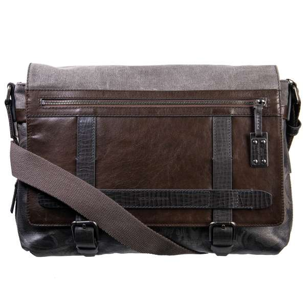 Large camouflage messenger bag with logo pendant made of canvas and grained calfskin by DOLCE & GABBANA Black Label