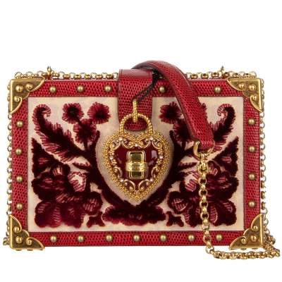 Velvet Brocade Leather Clutch Box Bag MY HEART with Studs Red