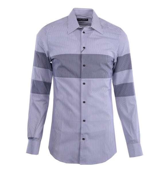 Gestreiftes Hemd mit kurzem Kragen und Manschetten aus Patchwork-Baumwolle von DOLCE & GABBANA Black Label - GOLD Line