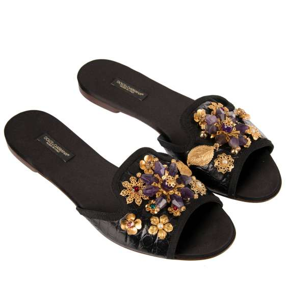 Crocodile Sandals BIANCA embellished with crystal and brass brooches in black by DOLCE & GABBANA Black Label