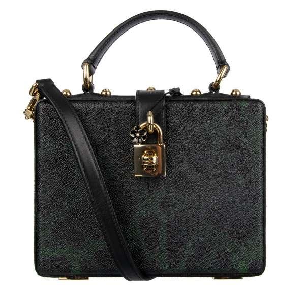 Studded canvas handbag / shoulder bag / clutch DOLCE BOX with leo print and decorative lock by DOLCE & GABBANA Black Label