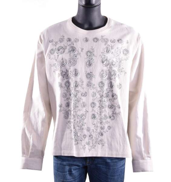 Linen and Cotton Longsleeve with ancient coins, flowers and logo print by DOLCE & GABBANA Black Label
