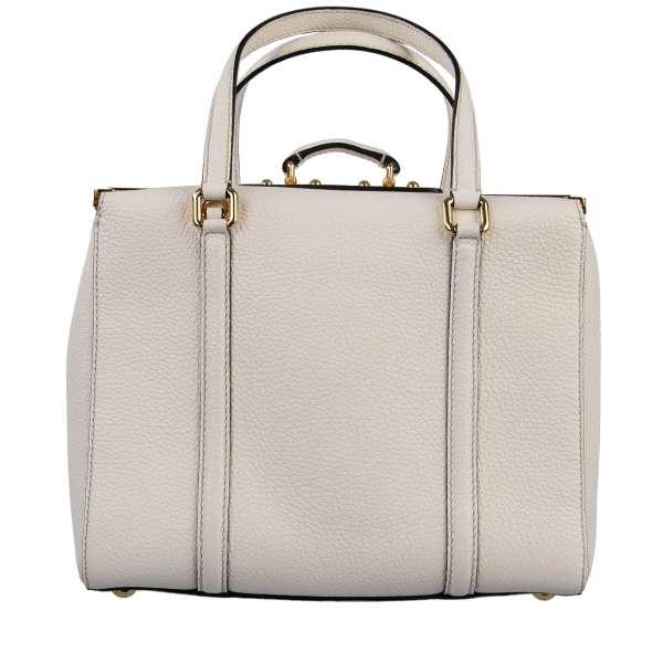 Bottalato leather box designed bag / shoulder bag GILDA with two handles and logo plaque by DOLCE & GABBANA Black Label