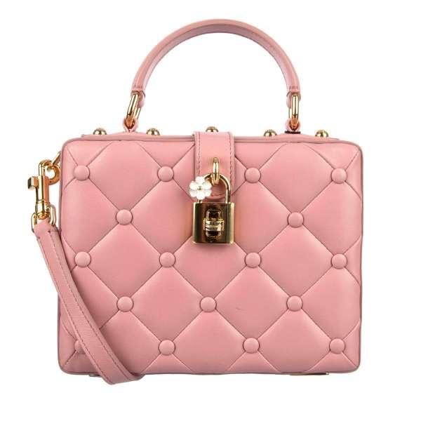 Schultertasche / Handtasche DOLCE BOX aus gestepptem Nappa Leder mit dekorativem Schloss mit Blume und Logo von DOLCE & GABBANA