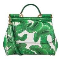 Tote Bag MISS SICILY Banana Leafs Green