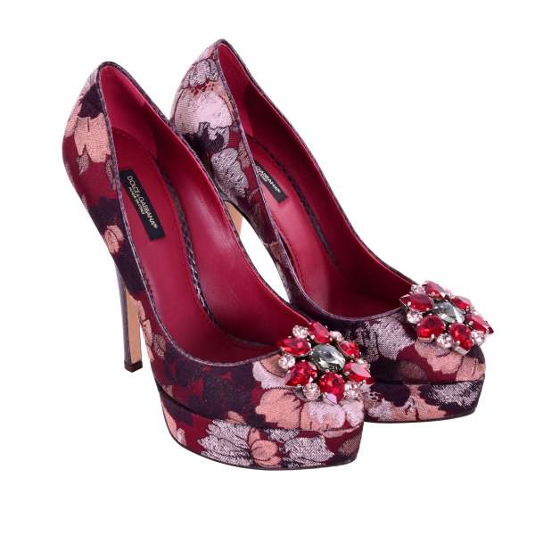 Floral Brocade COCO Plateau Pumps with snake skin heel and crystal brooch flower in red and brown by DOLCE & GABBANA Black Label
