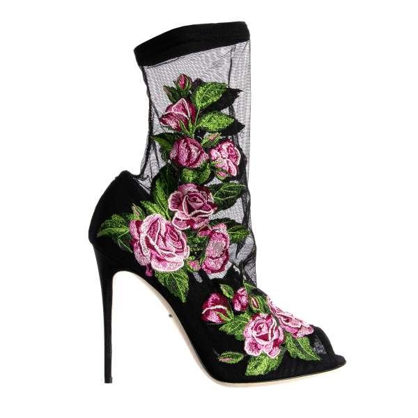 Peep Toe Pumps BT mit Socken aus Nylon mit Rosen Stickerei von DOLCE & GABBANA Black Label