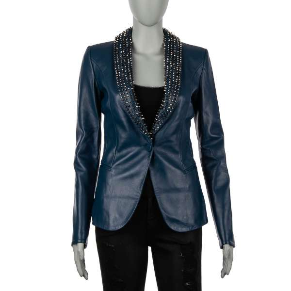 BEAUTIFUL MONSTER Leather Jacket / Blazer with studded collar in silver and blue by PHILIPP PLEIN COUTURE