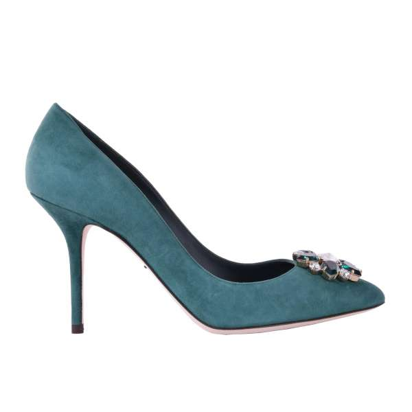 Suede Pumps BELLUCCI with a front crystals brooch by DOLCE & GABBANA Black Label