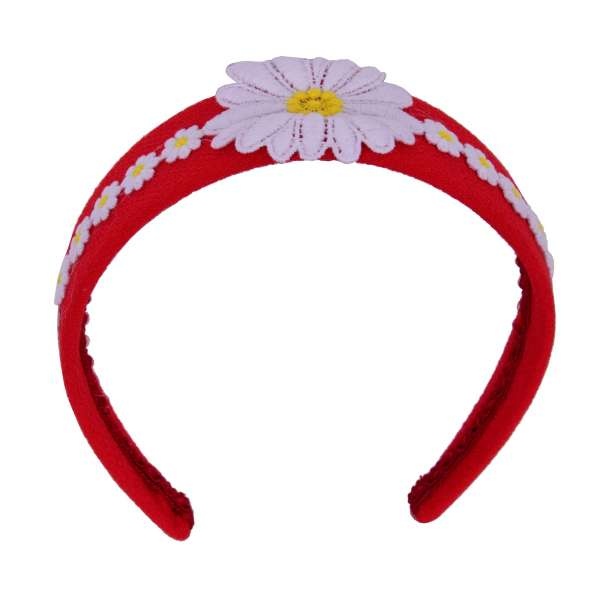 Hairband embelished with Camomile Flowers in White and Red by DOLCE & GABBANA