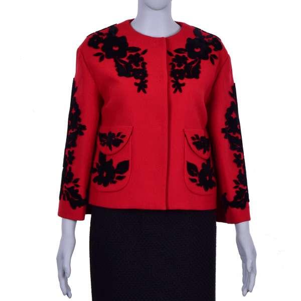 Barock Jacke aus Schurwolle mit Blumen Stickerei aus Samt in Schwarz und Rot von DOLCE & GABBANA Black Label