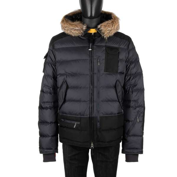 Down filled Ski Jacket SKIMASTER made of nylon-polyurethane taffeta with a detachable real fur trim, hood and many pockets in Ninetron Black
