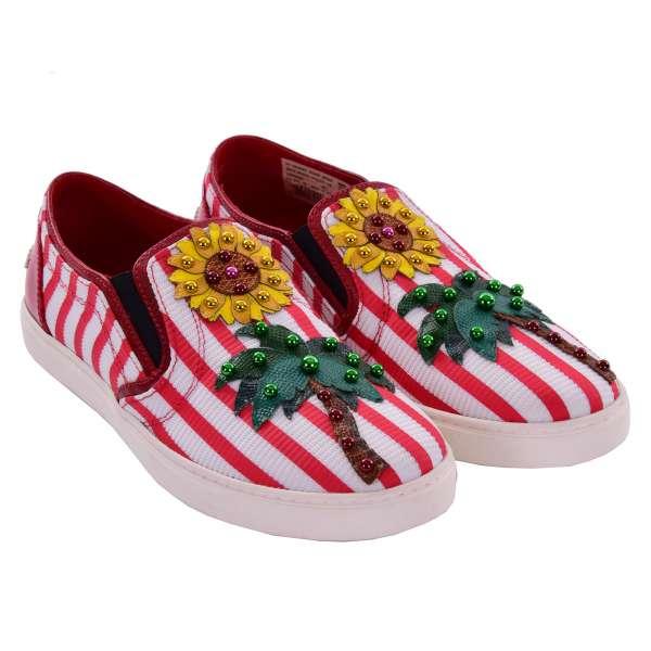 Slip-On Sneaker LONDON mit Palme, Sonnenblume Applikation und DG Logo in rot und weiß von DOLCE & GABBANA Black Label