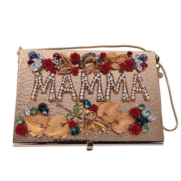 Goldene metallische Box Clutch MAMMA verschönert mit Kristallen, Perlen und Rosen Applikationen von DOLCE & GABBANA Black Label