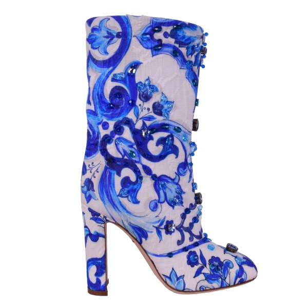Brocade Short Boots with Majolica tile-inspired print and crystals embellishment by DOLCE & GABBANA