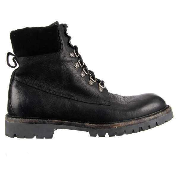 Military style vintage Ankle Boots BAGHERIA made of brushed calfskin with stable sole by DOLCE & GABBANA