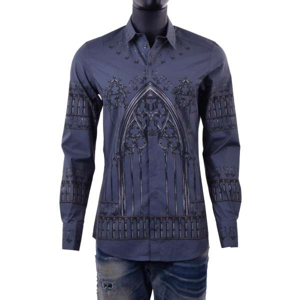 Gothic and keys printed shirt with short collar and cuffs by DOLCE & GABBANA Black Label - GOLD Line