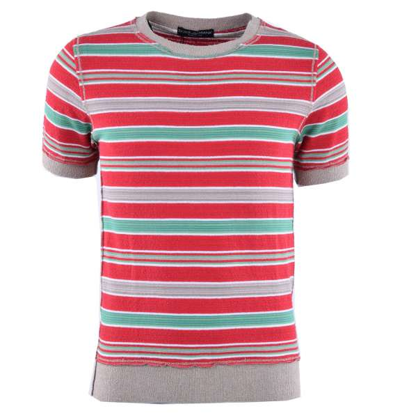 Knitted T-Shirt with multicolored stripes by DOLCE & GABBANA Black Label