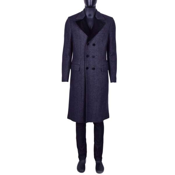 Double-Breasted, long Virgin Wool Coat with Velvet Reverse by DOLCE & GABBANA Black Line